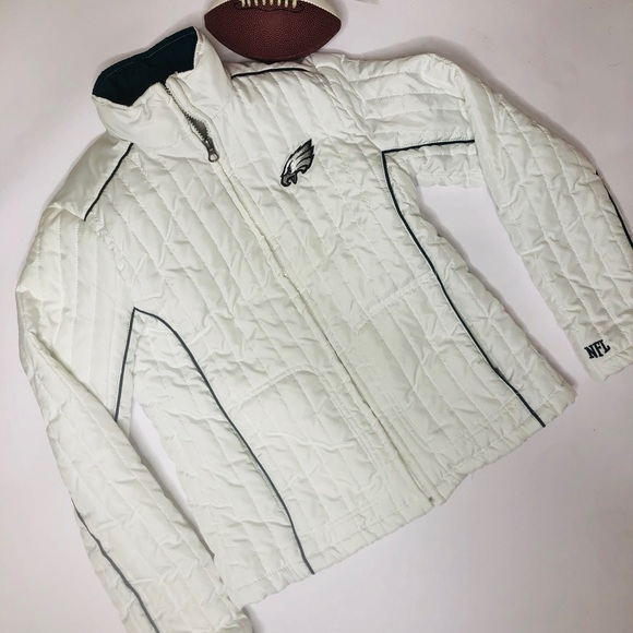 NFL Jackets & Blazers - NFL Philadelphia Eagles White Full-Zip Jacket S